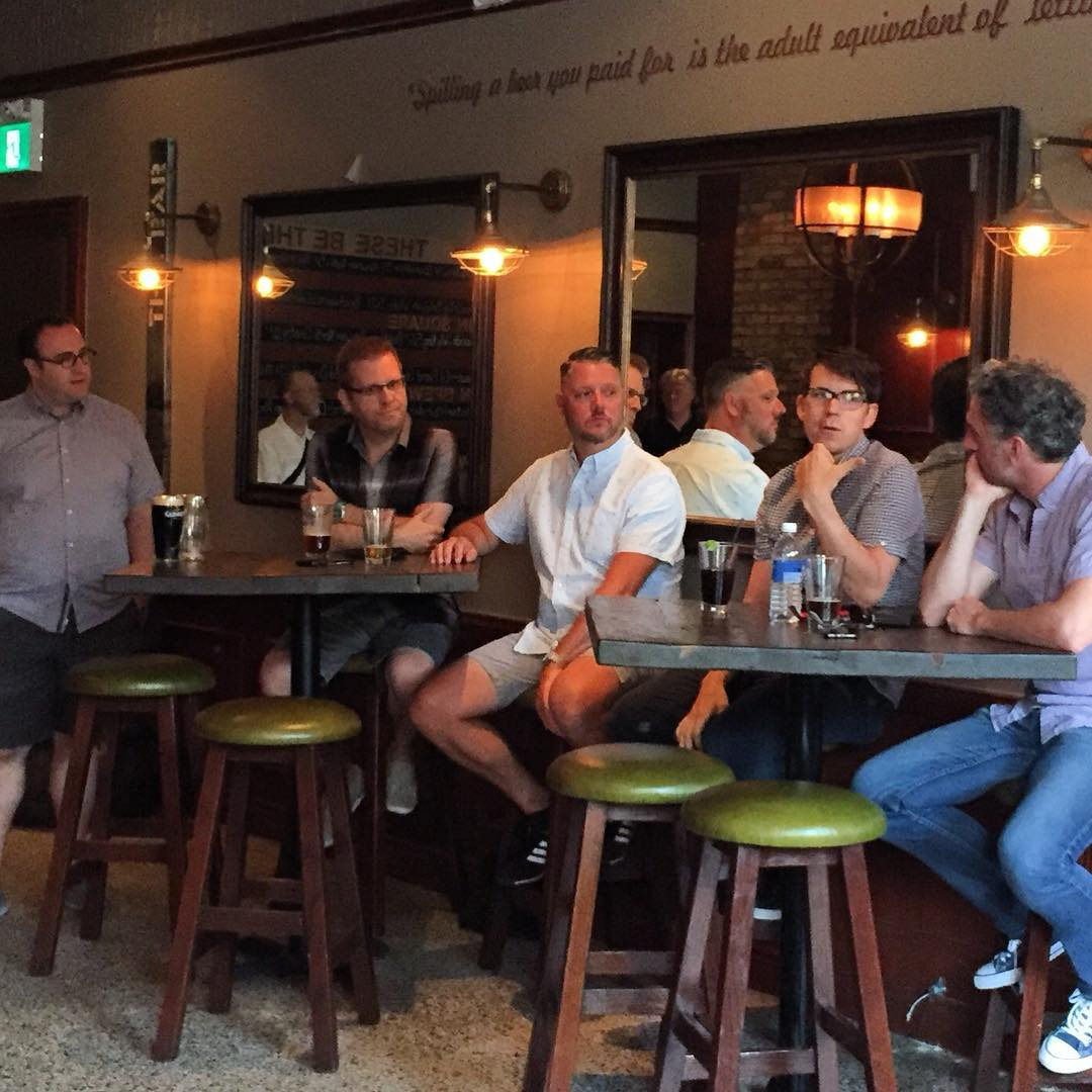 """Last night was the summer social in which saw the launch of our new series! Special thanks to and moderator Charlie Finlay, with guests in the """"hot seat"""" Derek Treffry and Greg Fisher from Fish-Fry Music and Sound, Peter Chapman and Rob Carli! @derektreffry @thepeterchapmanesq @rcarli"""